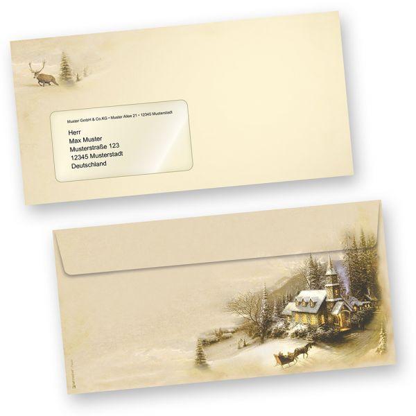 Briefhüllen Winteridylle (100 Stück mit Fenster)  Fensterumschläge