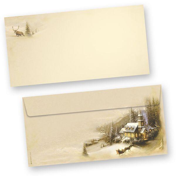 Briefumschläge Winteridylle (50 Stück ohne Fenster)  Weihnachten bedruckbar