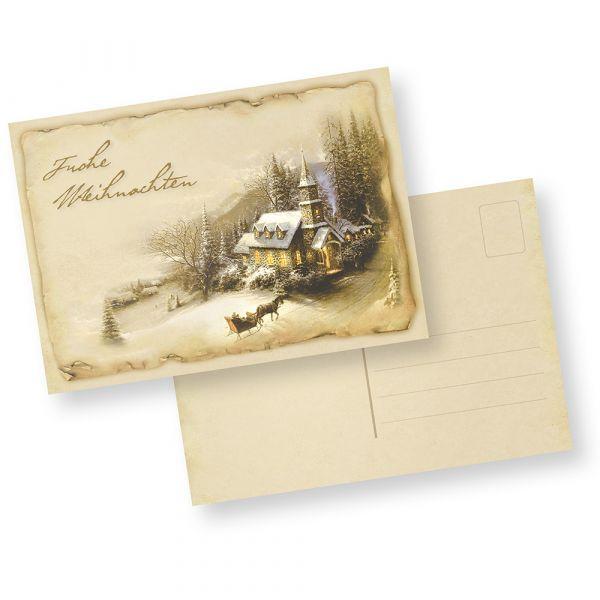 Postkarten Weihnachten Winteridylle (10 Stück) nostalgische Weihnachtspostkarten DIN A6