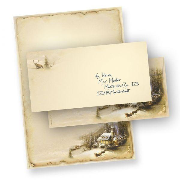 Briefpapier Set Weihnachten Winteridylle (25 Sets ohne Fenster)  inklusive Umschläge