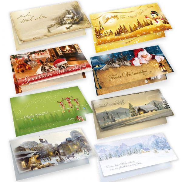 Weihnachtskarten mit Umschlägen, 8 Motive je 2 Karten, Frohe Weihnachten - Klappkarten für Weihnachtsgrüße