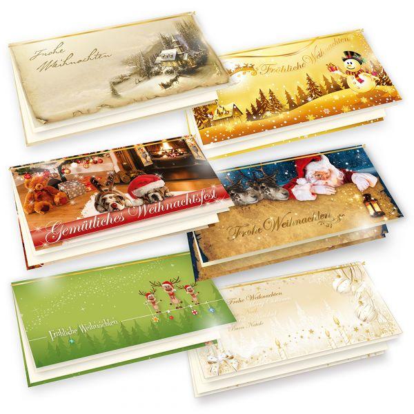 KOLLEKTION Weihnachtskarten (6 Motive je 1 Karte) Design by TATMOTIVE Berlin, hochwertig in Deutschland produziert, Set mit Umschlag