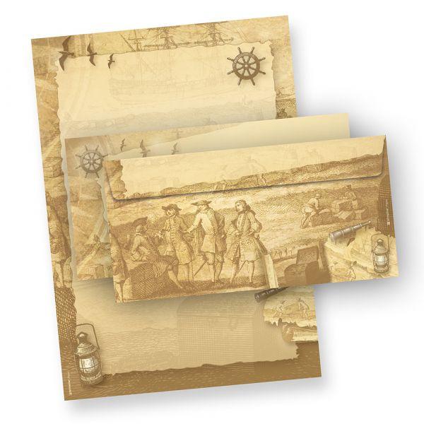 Briefpapier Set Piraten & Seefahrer (25 Sets) beidseitig bedrucktes A4 Schreibpapier inkl. Umschläge