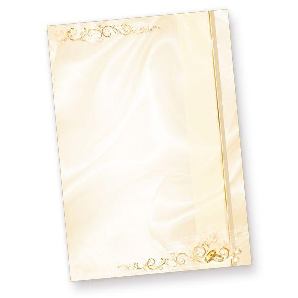Briefpapier Hochzeit creme (250 Stück) beidseitig bedrucktes A4 Schreib-Papier, z.B. für Einladungen , Kirchen-Hefte, Hochzeits-Zeitung