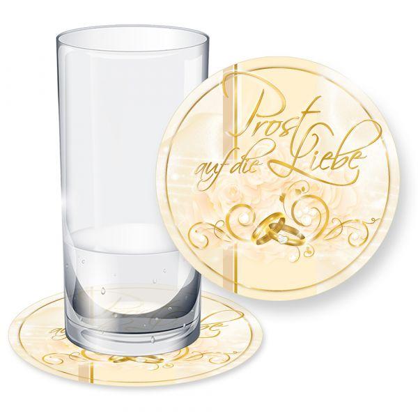 Bierdeckel Hochzeit perlmutt (100 Stück)