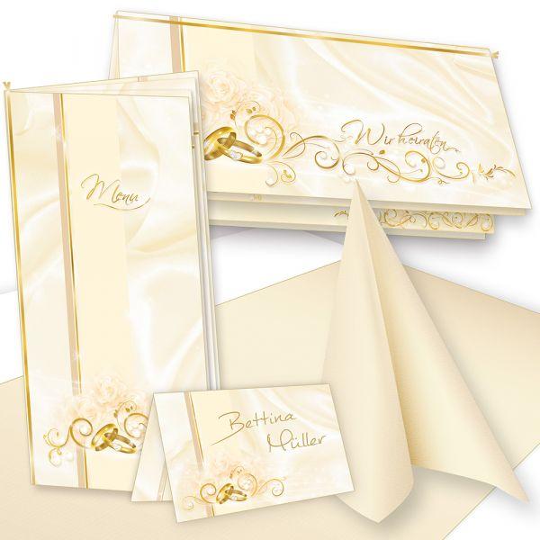 Einladung+Tischdeko Set Hochzeit (32 Gäste) Komplett-Set creme für Hochzeit Tisch - auch für Restaurant, Gaststätte etc.