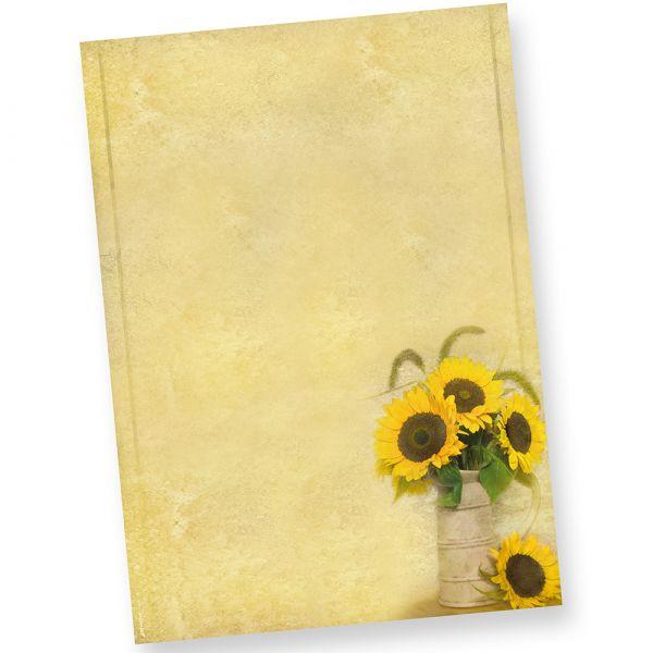 Briefpapier Sonnenblumen (50 Stück) beidseitig wunderschön bedrucktes A4 Motiv-Papier mit einer Vase mit sonnigem Sommermotiv