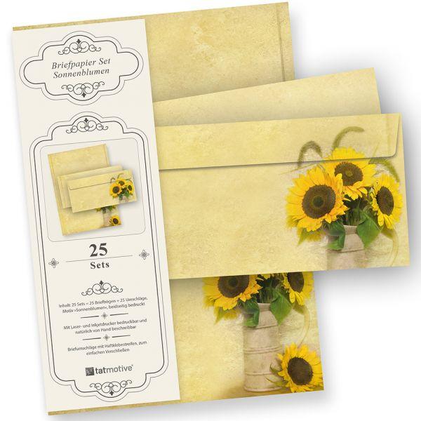 Briefpapier Set Sonnenblumen (25 Sets mit Umschläge) Geschenkset Mappe