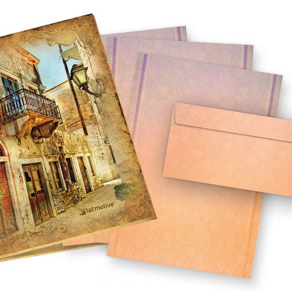 Briefpapier HARMONIE (25 Sets mit Umschläge) Geschenkset Mappe