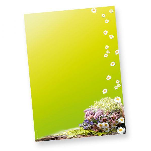 Frühling Briefpapier grün (50 Stück) grün mit Blumen