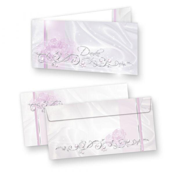 Danksagungskarten Hochzeit DE LUXE edel (10 Sets) Klappkarten mit Umschlag