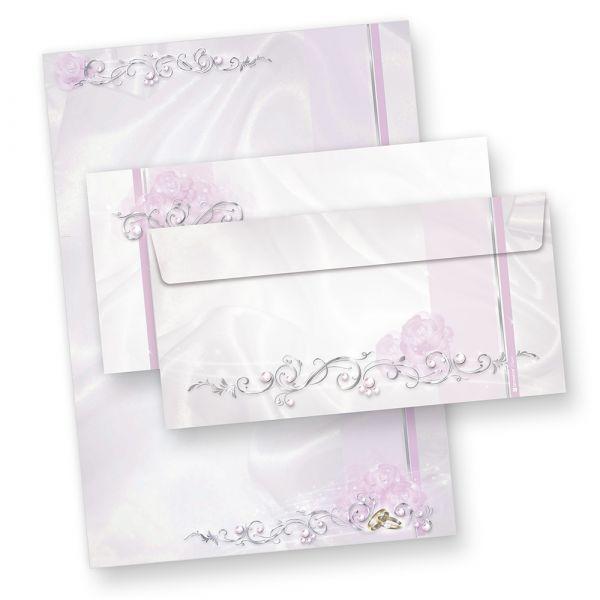 Briefpapier Hochzeit silbergrau (25 Sets mit Umschläge) Set mit Motivpapier