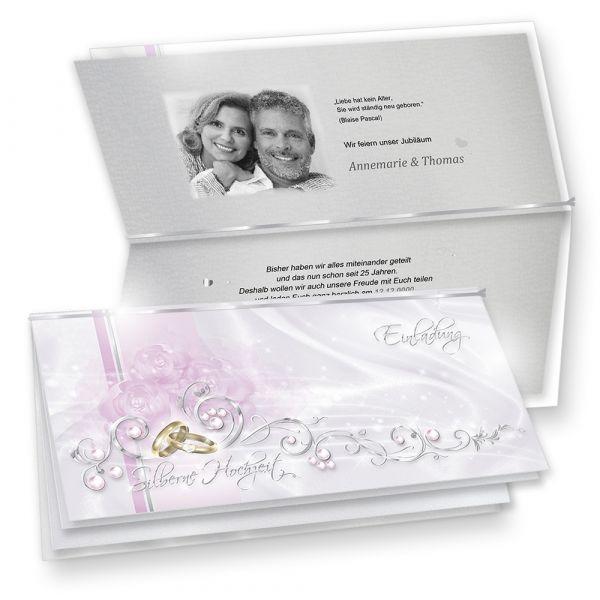Einladungskarten Silberne Hochzeit edel zum Selbstbedrucken (10 Sets)