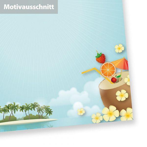 Briefpapier Strand + Palmen (250 Blatt) mit Karibik-Feeling für Briefe und Party Spaß, DIN A4, beidseitig bedruckt
