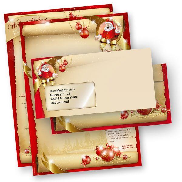 Weihnachtsbriefpapier Set SANTA CLAUS beidseitig (25 Sets mit Fenster) mit Gedichten, Infos und Weihnachtsliedern auf der Rückseite für Weihnachten