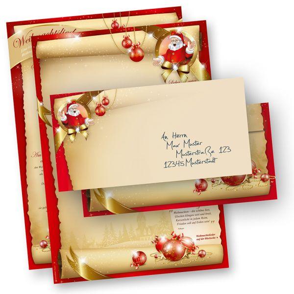 Weihnachtsbriefpapier Set SANTA CLAUS beidseitig (500 Sets ohne Fenster) mit Gedichten, Infos und Weihnachtsliedern auf der Rückseite für Weihnachten