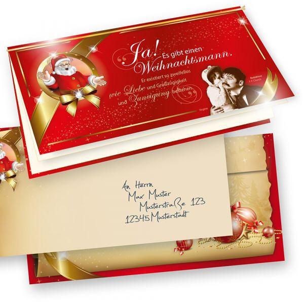 EDITION Weihnachtskarten Set Rot (10 Sets)  mit Weihnachtsgeschichte zum Selbstbedrucken
