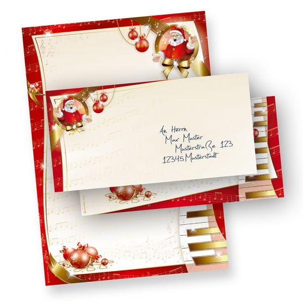 Weihnachtsbriefpapier Set Musik (250 Sets ohne Fenster) wunderschönes Weihnachtspapier musikalischer Weihnachtsmann, inkl. passender Briefumschläge (ohne Fenster)