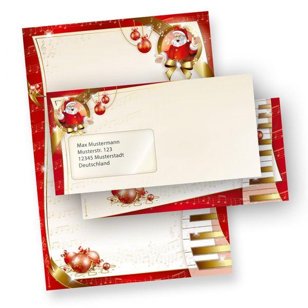 Weihnachtsbriefpapier Set Musik (10 Sets mit Fenster) wunderschönes Weihnachtspapier musikalischer Weihnachtsmann, inkl. passender Briefumschläge (mit Fenster)