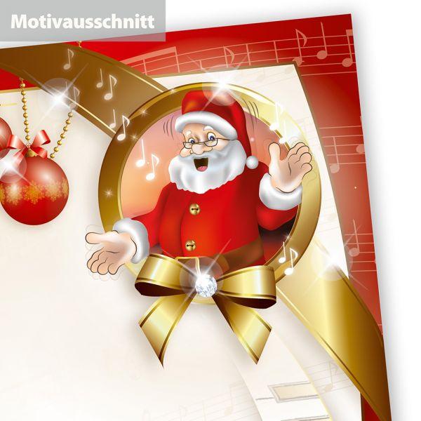 Weihnachtsbriefpapier Musik (50 Blatt)  mit Noten und Klavier