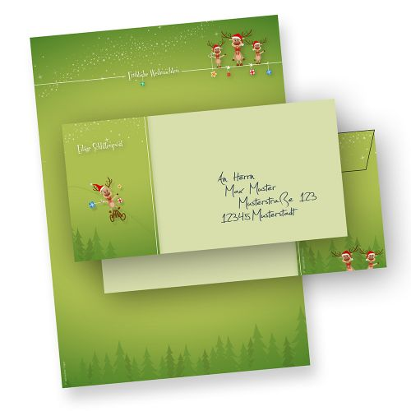 Weihnachtsbriefpapier Set Rentiere (10 Sets ohne Fenster) Briefpapier Weihnachten DIN A4 mit 3 Rentieren - mit Umschlägen