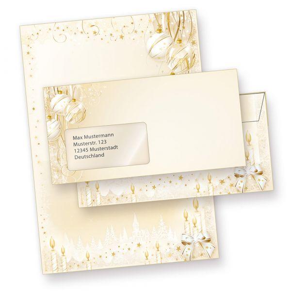 Weihnachtsbriefpapier Weihnachtsmärchen (25 Sets mit Fenster) anmutiges Briefpapier Weihnachten DIN A4 mit Fensterumschlägen