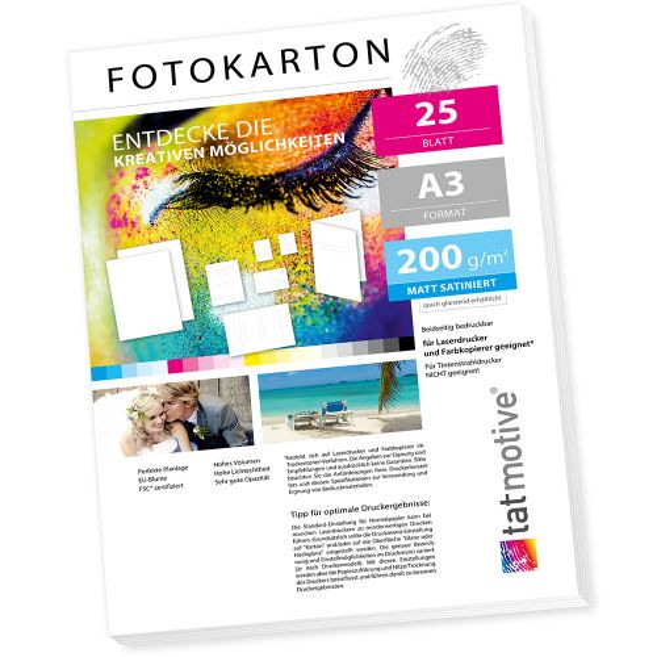 TATMOTIVE FA3200M25 Fotokarton Fotopapier 200g matt weiß / Laserdrucker / DIN A3 / Beidseitig bedruckbar / 25 Blatt