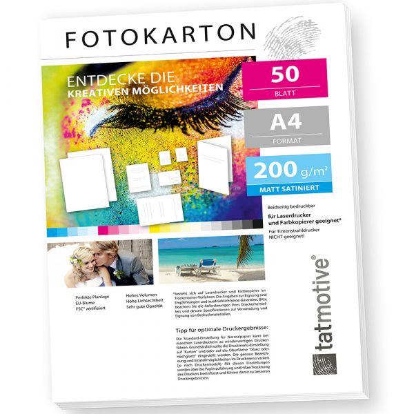 TATMOTIVE FA4200M50 Fotokarton Fotopapier 200g matt weiß / Laserdrucker / DIN A4 / Beidseitig bedruckbar / 50 Blatt