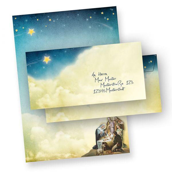 Briefpapier Set Weihnachtsgeschichte (25 Sets ohne Fenster) Weihnachtsbriefpapier DIN A4 mit Umschlägen ohne Fenster bedruckt