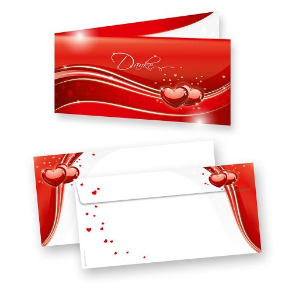 Danksagungskarten Hochzeit Rot (20 Sets) für Danksagung nach Hochzeit