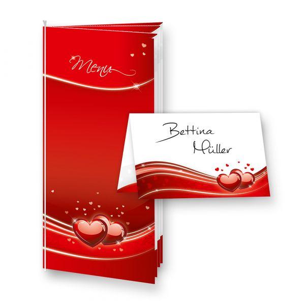 Menükarten Hochzeit Herz Liebe (4 inkl. 16 Tischkarten)