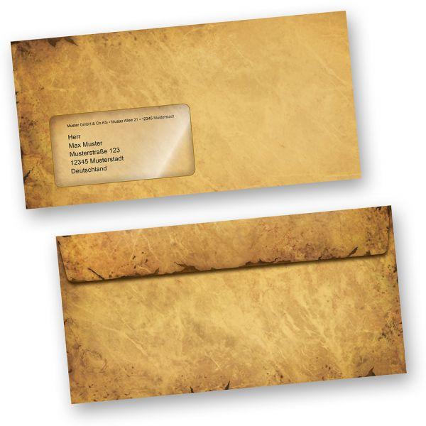 Briefumschläge CASANOVA (100 Stück m.F.) DIN lang mit Fenster altes Papier