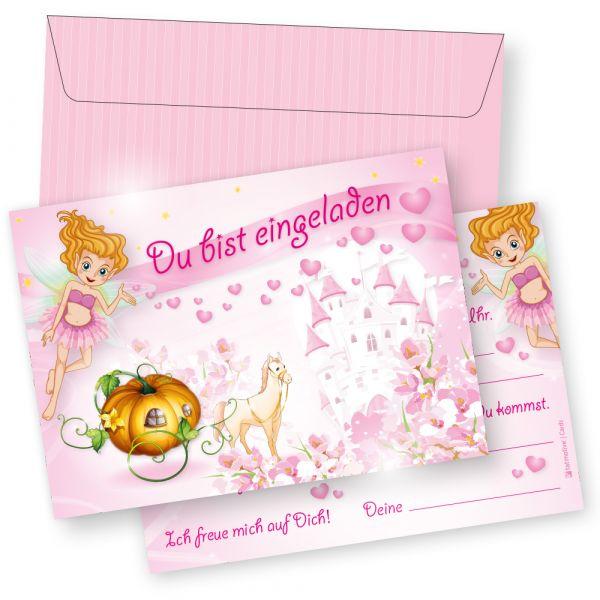 TATMOTIVE Prinzessin Rosanell Kinder-Geburtstag Einladungskarten 10 Karten + 10 Umschläge Mädchen Rosa