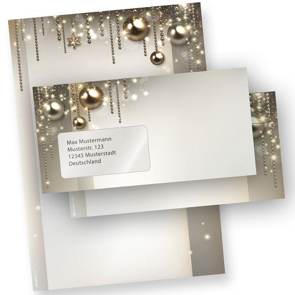 Briefpapier Weihnachten Set NOBLESSE (10 Sets mit Fenster) elegantes Design-Weihnachtsbriefpapier DIN A4 - mit Fensterumschlägen
