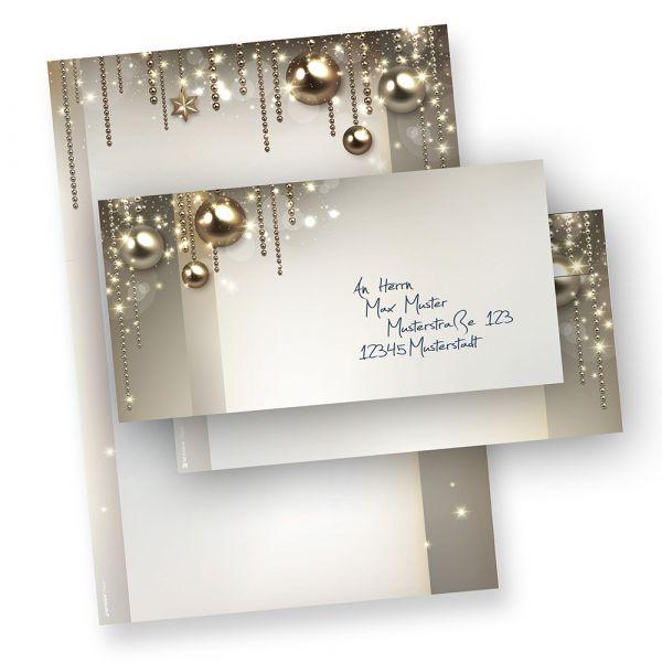 Briefpapier Weihnacht Set NOBLESSE (250 Sets ohne Fenster) elegantes Design-Weihnachtsbriefpapier DIN A4 - mit Umschlägen ohne Fenster