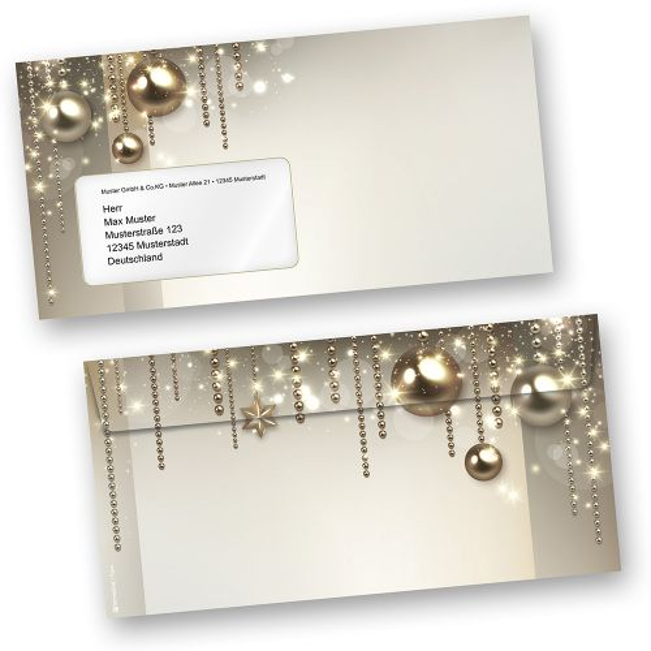 Weihnachtsumschläge NOBLESSE (50 Stück mit Fenster)  elegante Design-Umschläge DIN lang mit Fenster (auch passendes Briefpapier erhältlich)