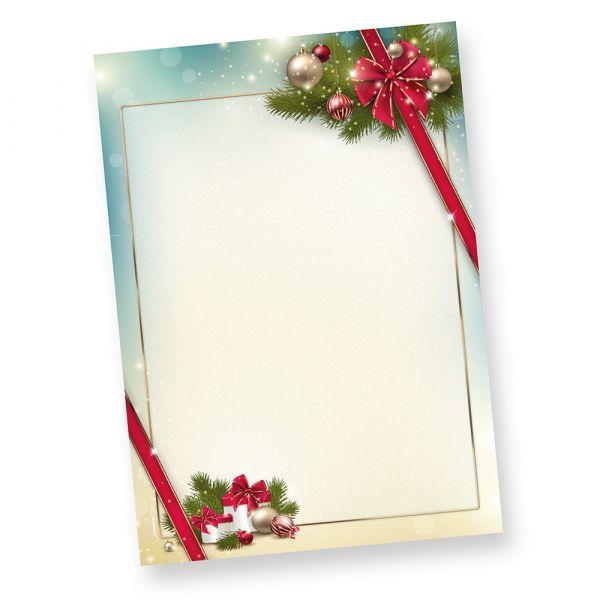 Briefpapier Weihnacht ROTE SCHLEIFE (250 Blatt)  elegant mit Motiv