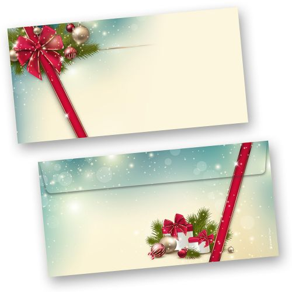 Umschläge Weihnachten ROTE SCHLEIFE (100 Stück ohne Fenster)  elegant mit Motiv