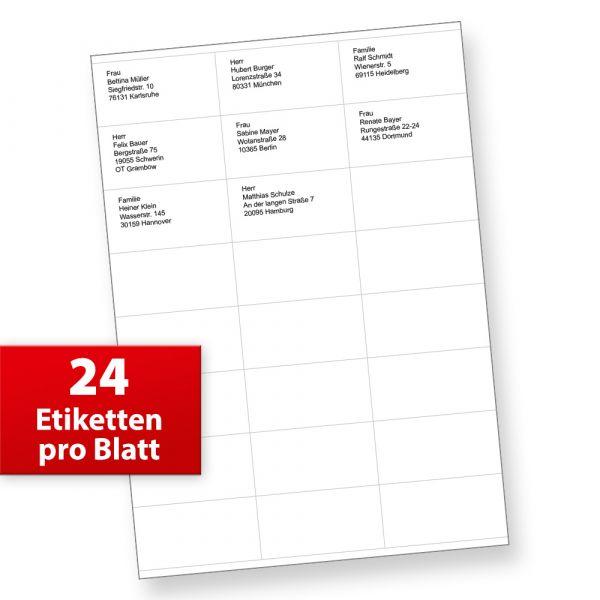 FIX Adressaufkleber (70 x 36 mm, 2.400 Stück) auf 100 Blatt je 24 Etiketten, für Briefe, INTERNETMARKE uvm.