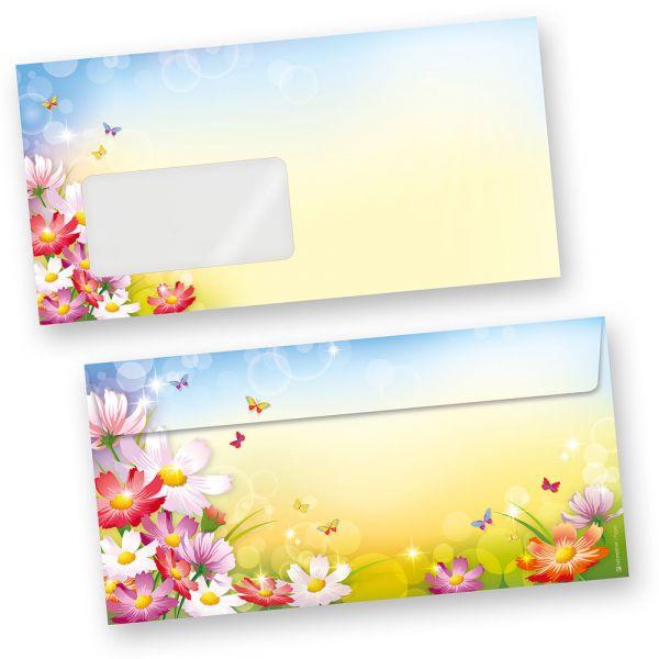 Briefumschläge Florentina (1000 Stück m.F.) DIN lang Umschläge MIT Fenster mit Blumen bunt