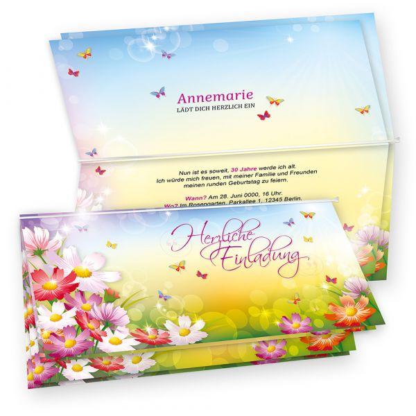 Tatmotive FLORENTINA Einladungskarten Geburtstag (10 Sets) selbst bedruckbar, mit Umschlag, Blumen bunt