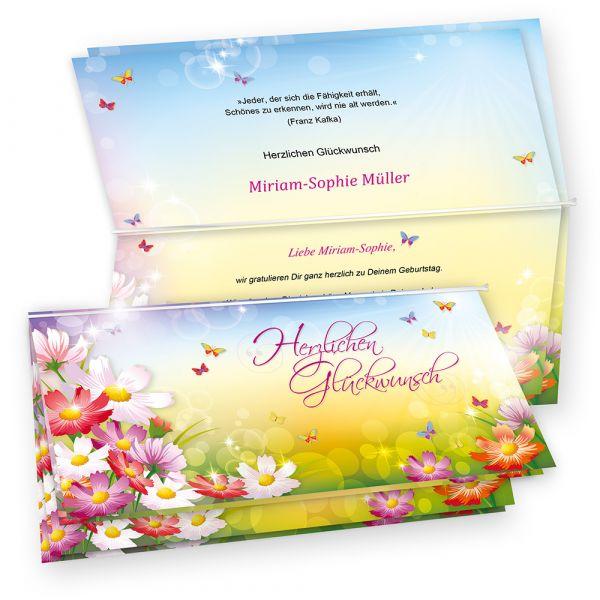 Glückwunschkarten Blumen FLORENTINA (4 Sets) bedruckbar, mit Umschläge, Geburtstagskarten Set