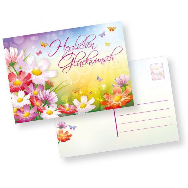 Postkarten Herzlichen Glückwunsch (500 Stück) schöne Glückwunschkarten Geburtstagskarten mit Blumen