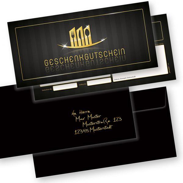 Restaurant Geschenkgutscheine (25 Stück mit Umschläge) Gutscheine selbst ausfüllen und verkaufen
