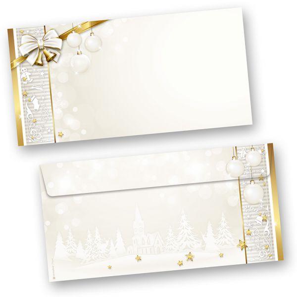 Briefumschläge Weihnachten  GOLDEN ROYAL (50 Stück ohne Fenster) ein goldener Rahmen und Weihnachtsglocken für Ihre Weihnachtspost