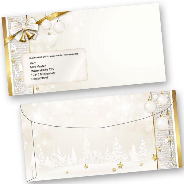 Kuvertierhüllen Weihnachten GOLDEN ROYAL (50 Stück mit Fenster) Briefumschläge zum automatisierten Kuvertieren - Kuvertierumschläge
