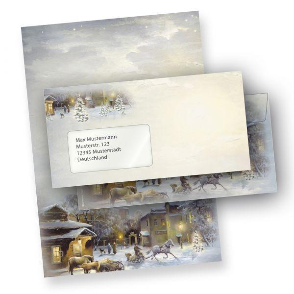 Weihnachtsbriefpapier WINTER-AQUARELL (10 Sets mit Fensterumschläge)  online bestellen