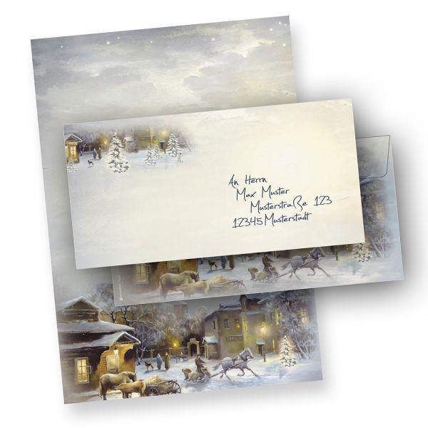 Weihnachtsbriefpapier Set WINTER-AQUARELL (25 Sets ohne Fenster) DIN A4 297 x 210mm 90 g/qm, Weihnachtsbriefpapier mit Umschläge