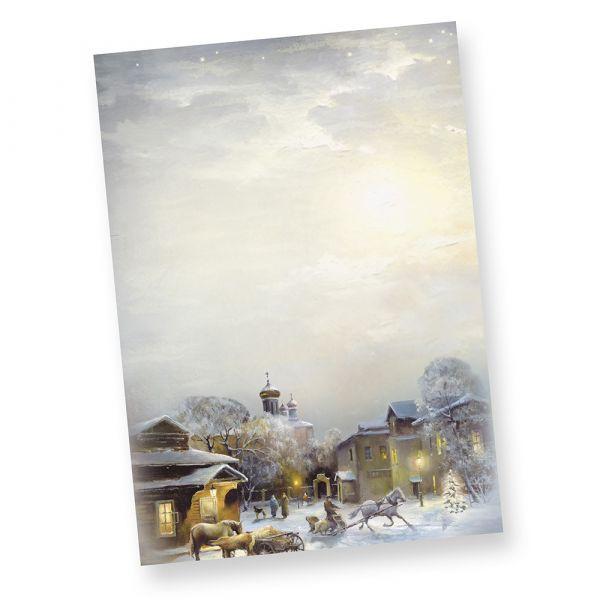 """Weihnachtsbriefpapier WINTER-AQUARELL (100 Blatt) nostalgische Weihnachtsstimmung: """"Alles sieht so festlich aus."""
