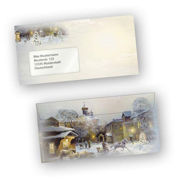 Briefhüllen Weihnachten WINTER-AQUARELL (100 Stück mit Fenster)
